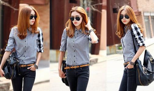 Асимметричная рубашка с длинными рукавами для женщин  - 1