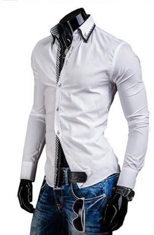 DesignSlim мужские рубашки с длинным рукавом  - 1