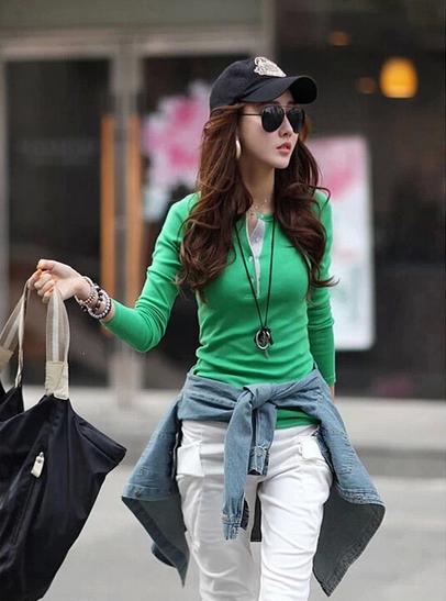 Женская осенняя футболка с длинным рукавом  - 3