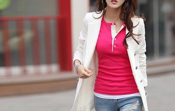 Женская осенняя футболка с длинным рукавом  - 1