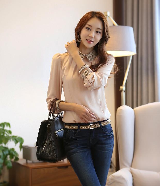 Новая блузка с воротником для стильных женщин  - 6
