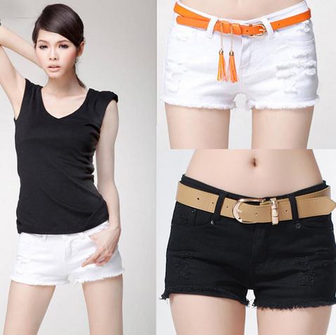 Сексуальные твёрдые джинсовые шорты для женщин  - 2
