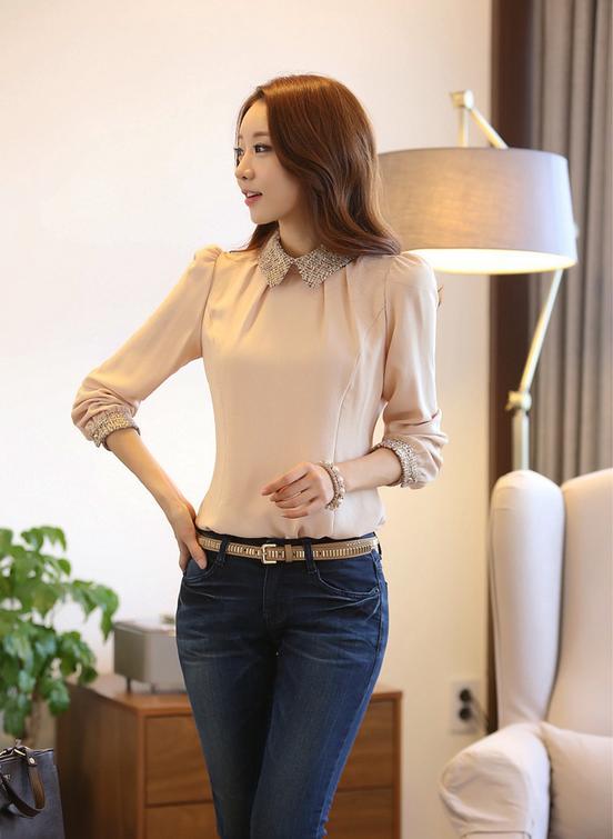 Новая блузка с воротником для стильных женщин  - 8