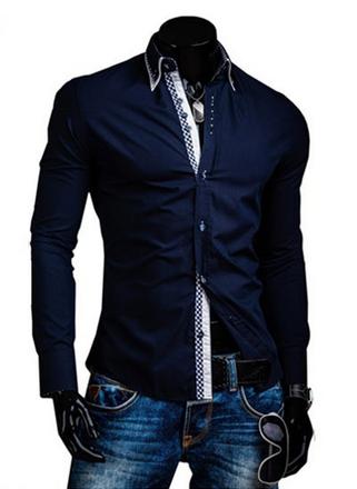 DesignSlim мужские рубашки с длинным рукавом  - 9