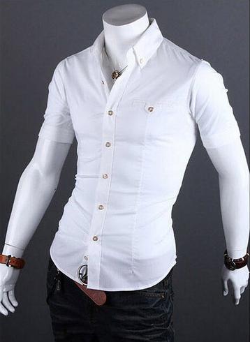 Летняя тонкая рубашка для мужчин с коротким рукавом  - 1