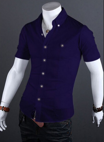 Летняя тонкая рубашка для мужчин с коротким рукавом  - 8