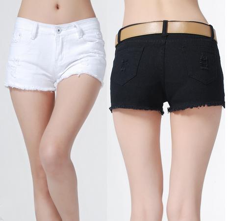 Сексуальные твёрдые джинсовые шорты для женщин  - 1