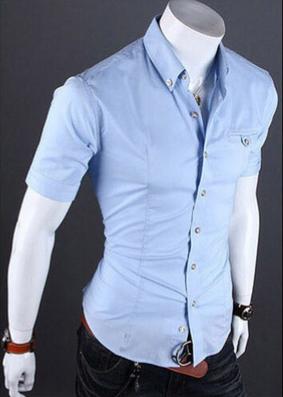 Летняя тонкая рубашка для мужчин с коротким рукавом  - 3