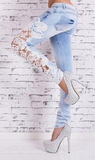 Свободные кружевные джинсы для женщин - 3