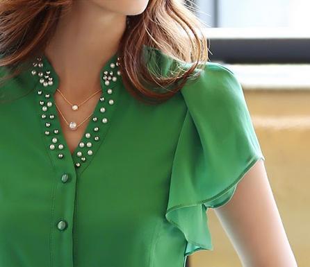 Летняя блузка с коротким руковом для женщин  - 5