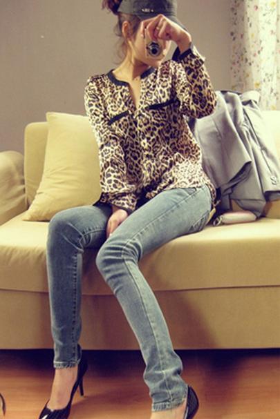 Леопардовая блузка для женщин   - 1