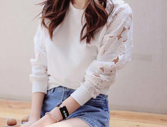 Белая женская блузка в кружева для женщин  - 1