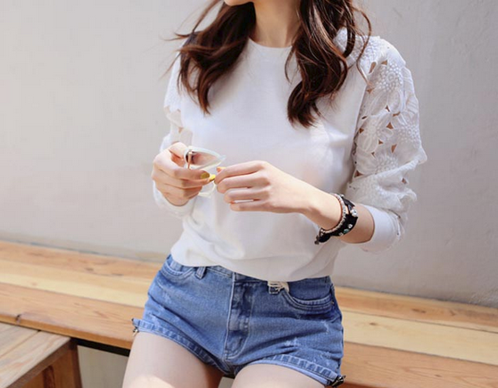 Белая женская блузка в кружева для женщин  - 5