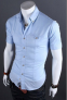 Летняя тонкая рубашка для мужчин с коротким рукавом  - 4