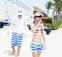 Полосатые пляжные шорты для мужчин  - 1