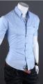 Летняя тонкая рубашка для мужчин с коротким рукавом  - 5