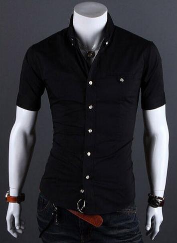 Летняя тонкая рубашка для мужчин с коротким рукавом