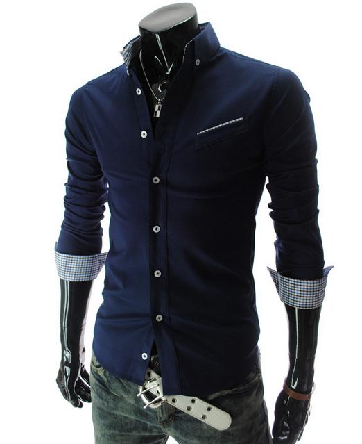 Новая модная рубашка с длинными рукавами для мужчин