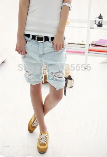 Вышитые карманы джинсы с короткие для женщин