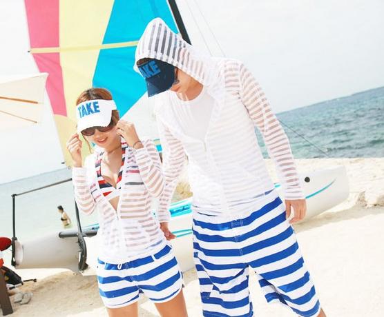 Полосатые пляжные шорты для мужчин