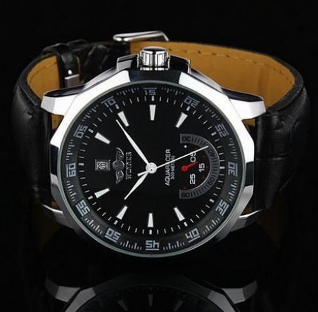 Бесплатная доставка 2014 новое мужская автоматические механические часы дата с черным кожаным ремешком и циферблат