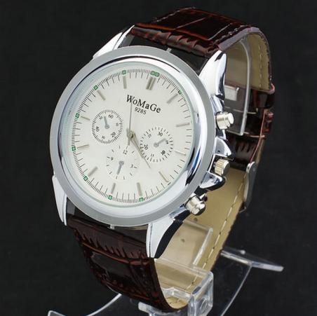 Точная мода мужские коричневый Leatheroid ремешок большой круглый кварцевый механизм наручные часы новый бесплатная доставка