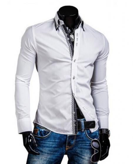 DesignSlim мужские рубашки с длинным рукавом