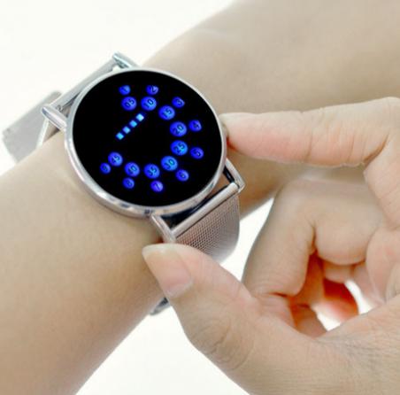 Инновационная японский стильный цифровой дисплей зеркало синий из светодиодов часы для женщины или мужчины бесплатная доставка