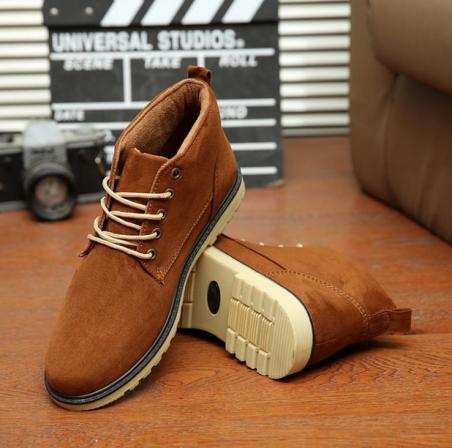 Кожаные тёплые ботинки для мужчин